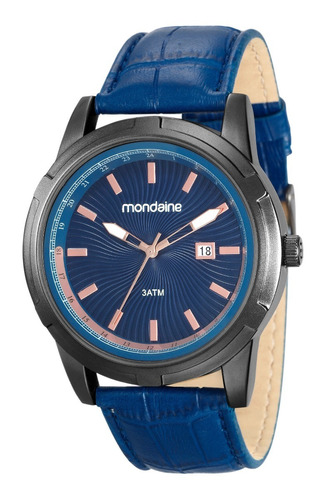 relogio mondaine masculino pulseira couro azul 83361gpmvsh1