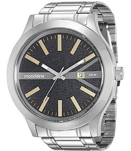 relógio mondaine prata visor preto 94962 g0mvna1