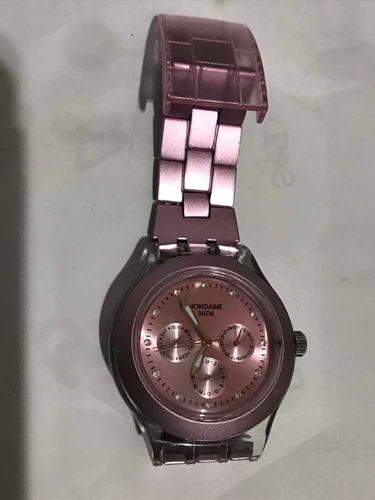 relogio mondaine rosa estilo swatch