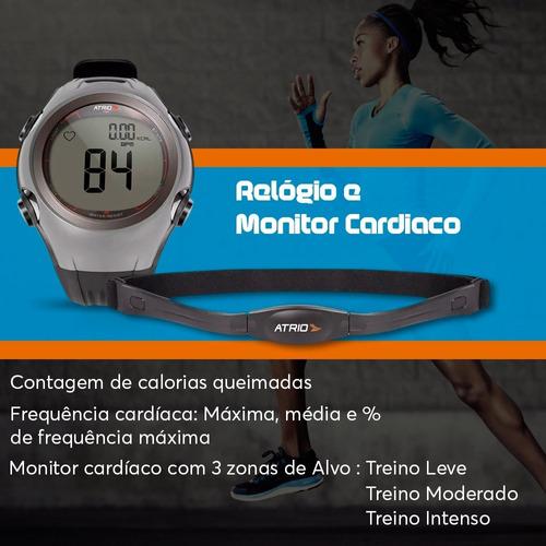 relogio monitor cardiaco esportes atrio corrida preto cinza