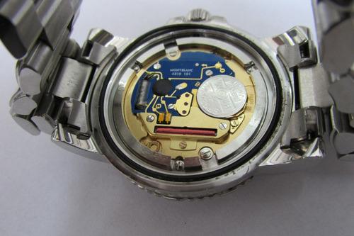 relógio mont blanc caixa e pulseira de aço original safira