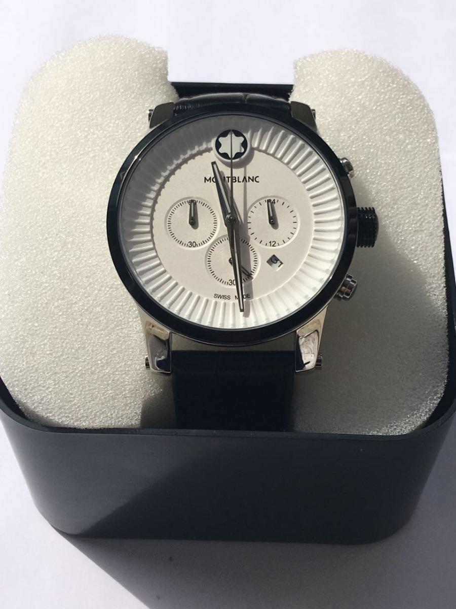 a1b1b74736b relógio montblanc fundo branco c  pulseira preto couro. Carregando zoom.