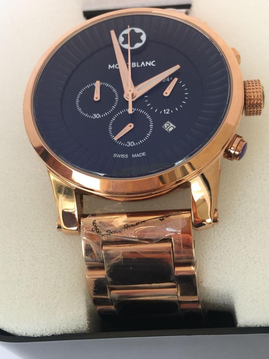 c3427c469fa relógio montblanc pulseira aço rose fundo preto - promoção. Carregando zoom.
