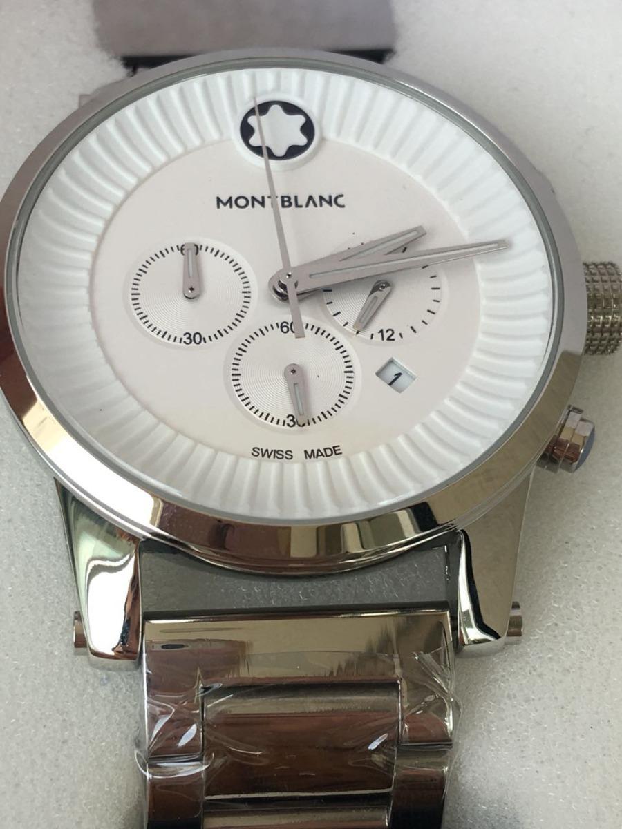 4a5d8f8a6fe relógio montblanc pulseira de aço prata e fundo branco. Carregando zoom.