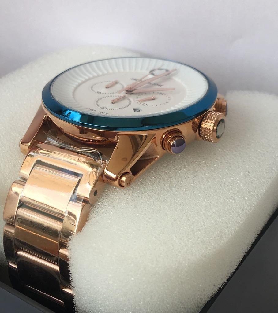 970fb015c85 relógio montblanc pulseira de aço rose c  fundo branco. Carregando zoom.