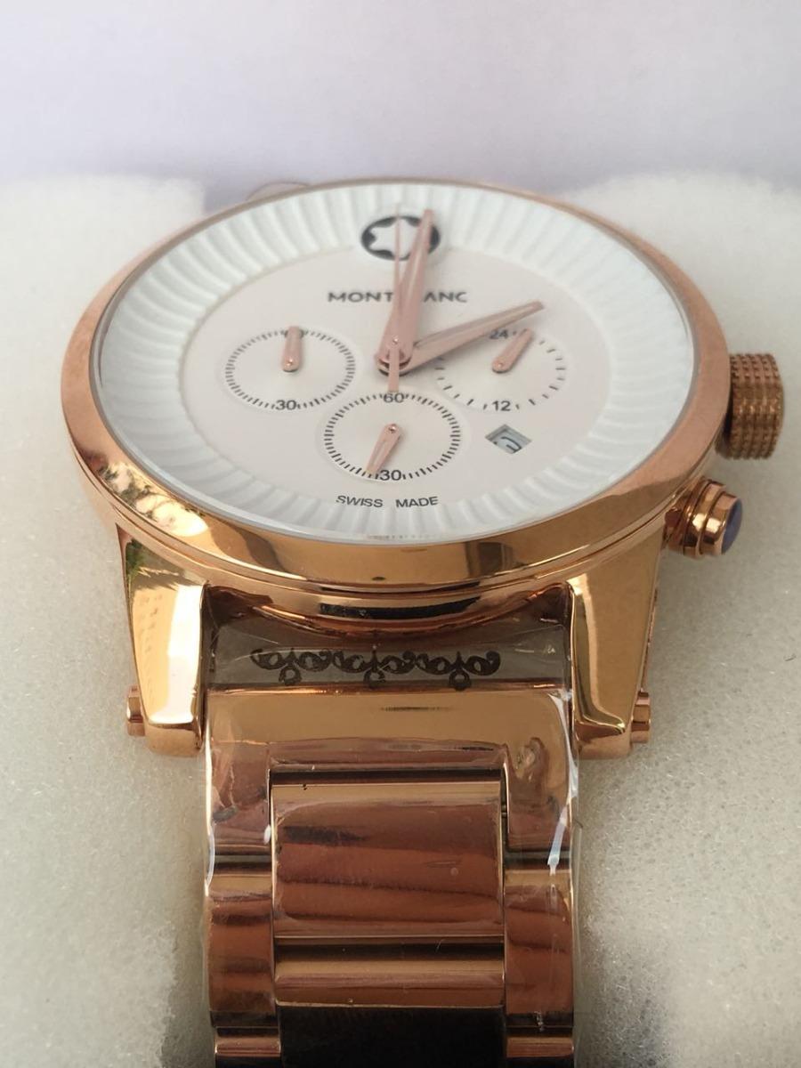 301b2acc024 relógio montblanc pulseira de aço rose e fundo branco. Carregando zoom.