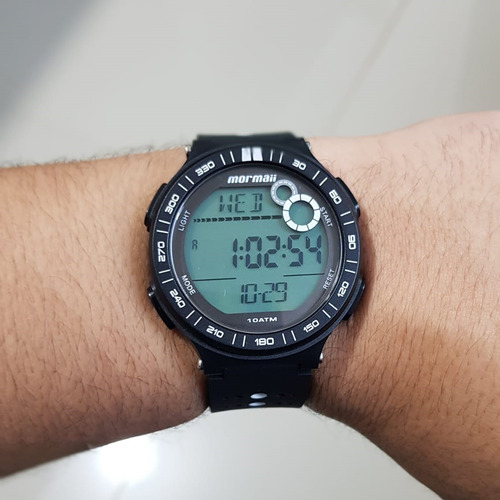 relógio mormaii action masculino preto digital esporte surf