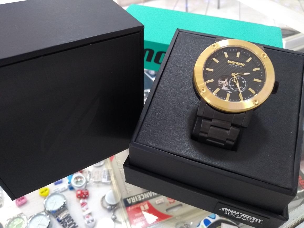 b94a656716a7e relogio mormaii automatico black gold. Carregando zoom.