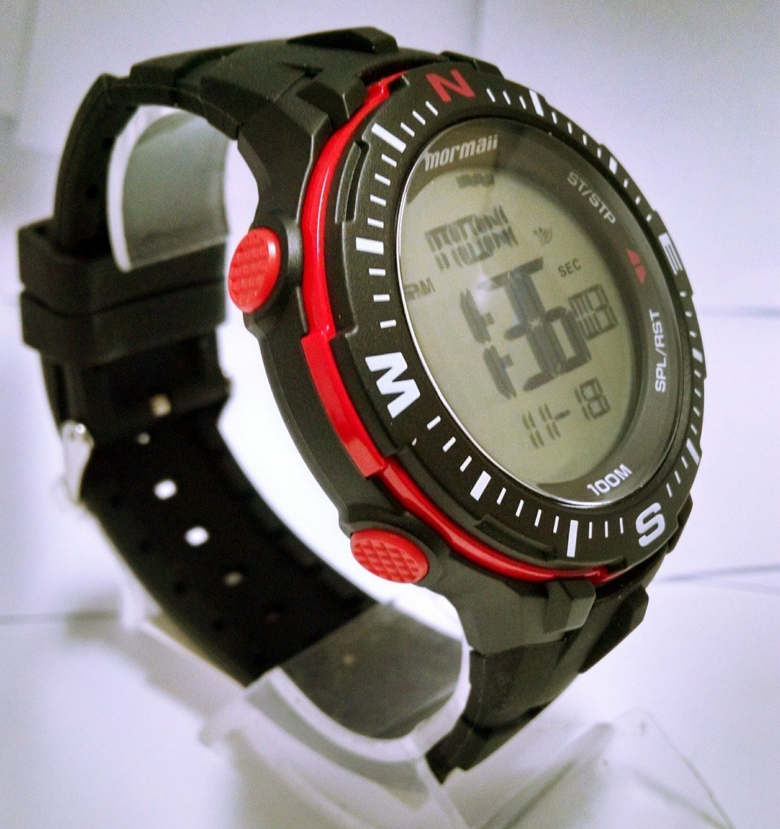 1b79f963f27 Relógio Mormaii Digital Preto Com Vermelho Grande Monk006 8r - R ...