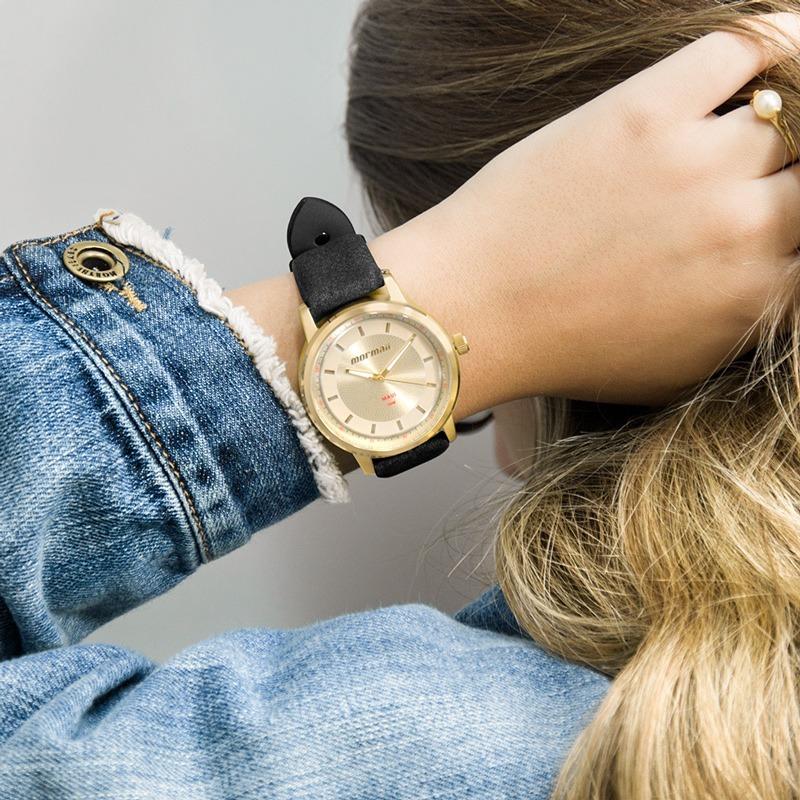 822b976d52b Relógio Mormaii Feminino Dourado E Preto Barato Mo2035ib 2d - R  105 ...
