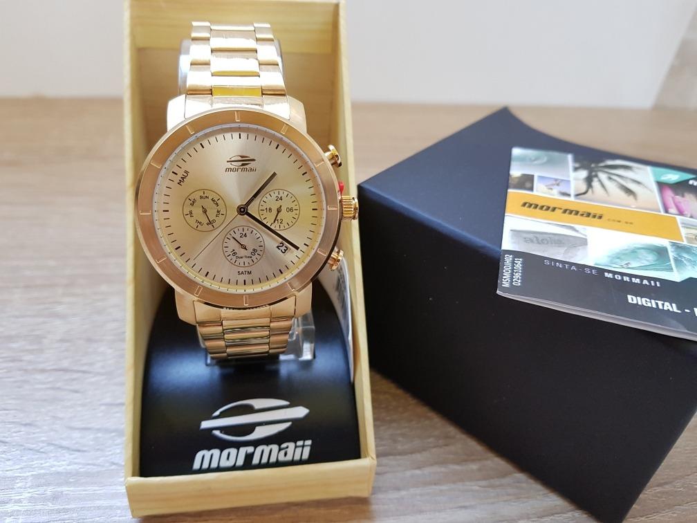 b5f54b8ada4 Relógio Mormaii Feminino Maui Aço Dourado Mojp25caq 4d - R  269