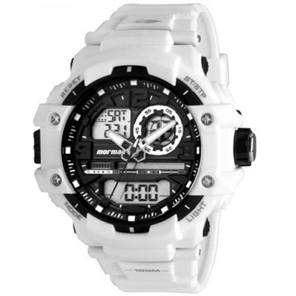 116f2ac6459 Relógio Mormaii Masculino Anadigi Branco Grande Mo0949 8c - R  259 ...