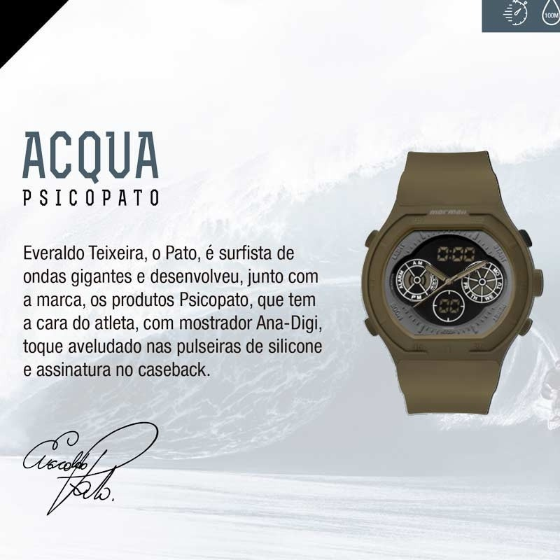 477803ece99 Relógio Mormaii Masculino Psicopato Mo160323ai 8v Acqua 100m - R ...