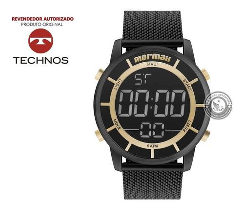 relógio mormaii mobj3463bb/4p metal pulseira ajustável aço