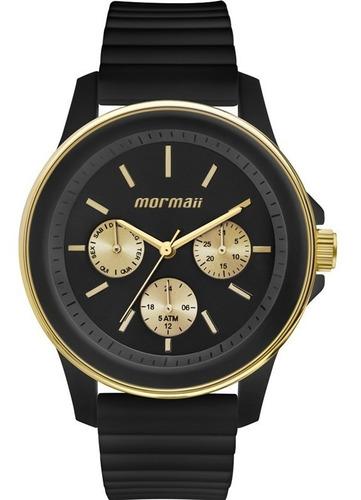 relógio mormaii unissex analógico preto original