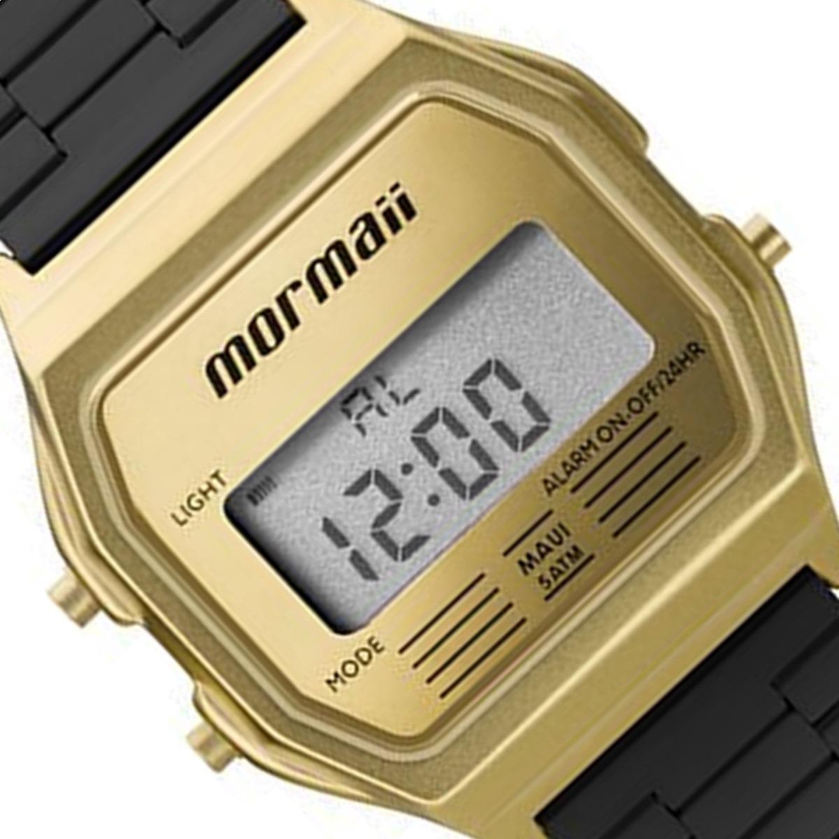 1a3b438d004c0 relógio mormaii unissex vintage mojh02ak 4d preto dourado. Carregando zoom.