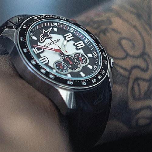 relógio moto alpinestars tech chrono aço pulseira silicone