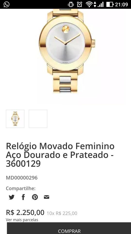 2232e2da8a8 relógio movado bold 3600235 dourado c  prata. Carregando zoom.