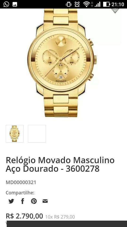 bd6feff00d4 relógio movado feminino aço dourado - 3600209. Carregando zoom.