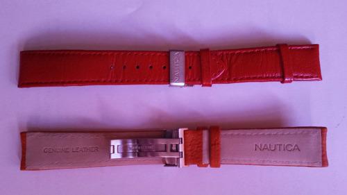 relógio nautica 2,0cm laranja couro só a pulseira nova 100%