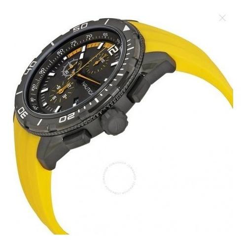 relógio náutica a19629g preto aço inox borracha amarelo