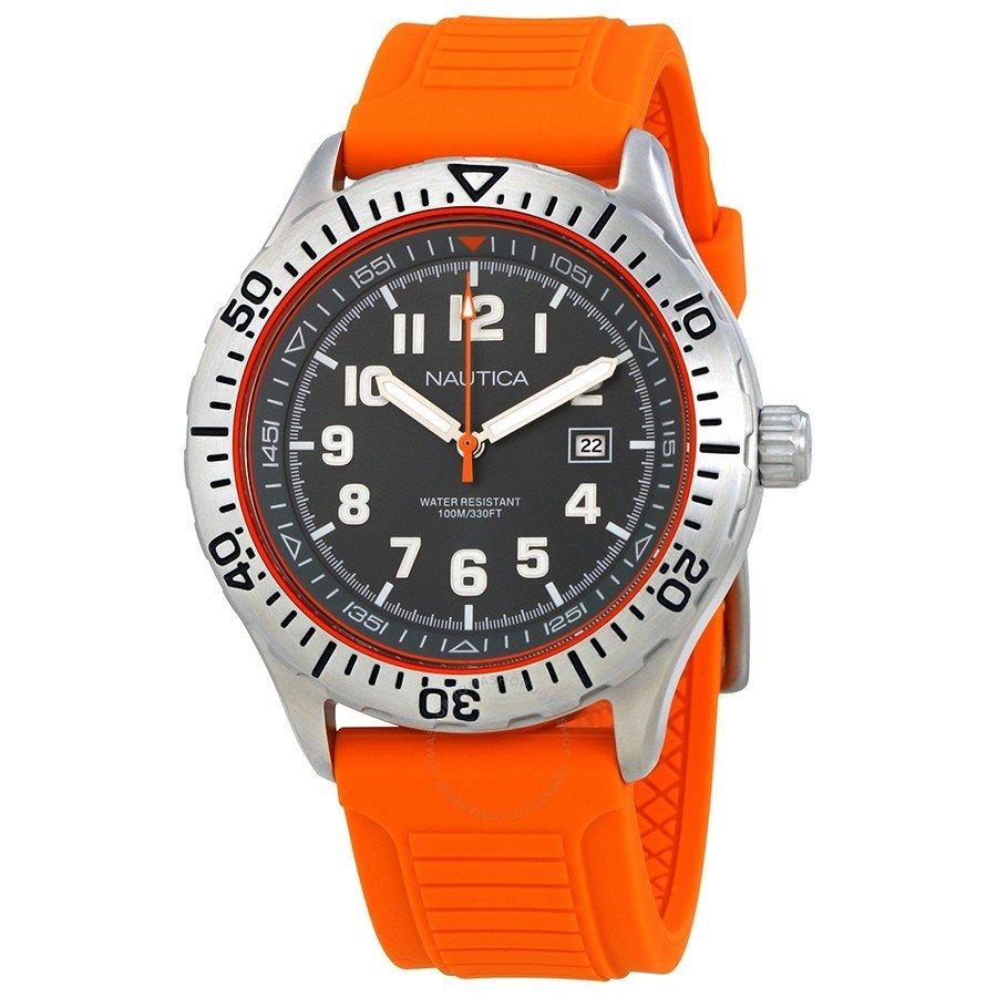 b98d94845c0 relógio náutica masculino original cinza c  pulseira laranja. Carregando  zoom.