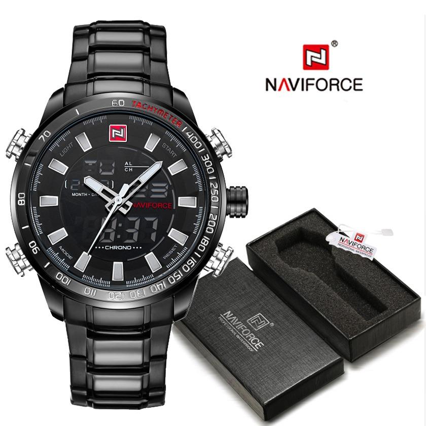 eaa2b7b639d relógio naviforce 9093 esportivo show luxo novo preto top. Carregando zoom.