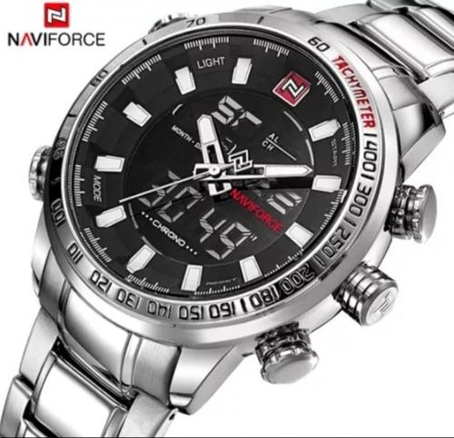 relogio naviforce 9093 prata/branco impecavel envio em 24h