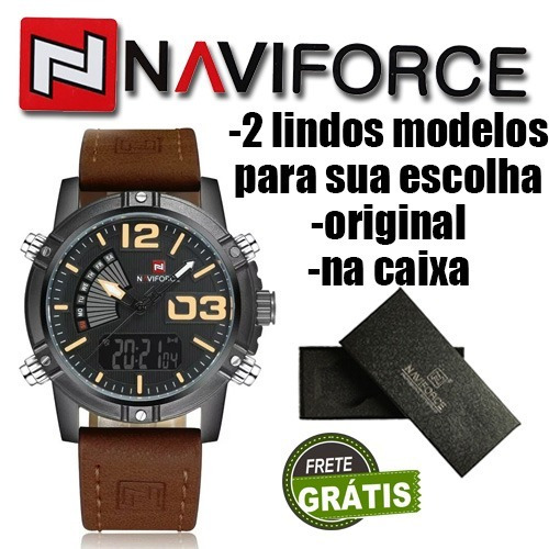 relógio naviforce 9095 original na caixa à prova da'água