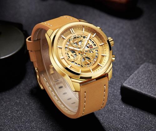 relógio naviforce 9129 dourado cronógrafo pulseira couro