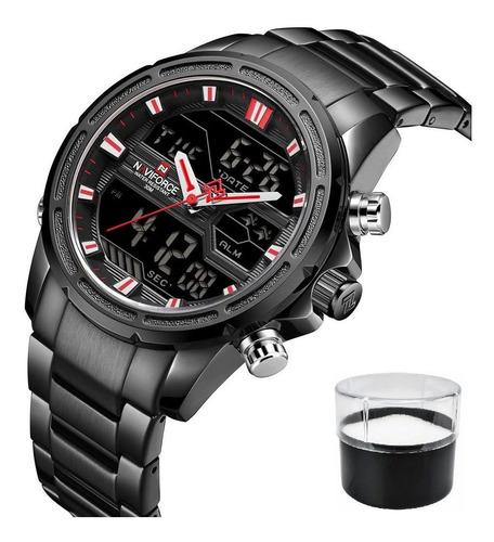 relógio naviforce 9138m luxo com estojo nota fiscal promoção
