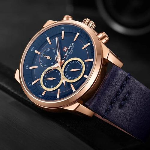 relógio naviforce 9148 cronógrafo pulseira couro lançamento