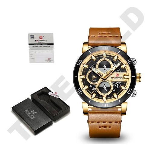 relógio naviforce esportivo cronógrafo pulseira couro
