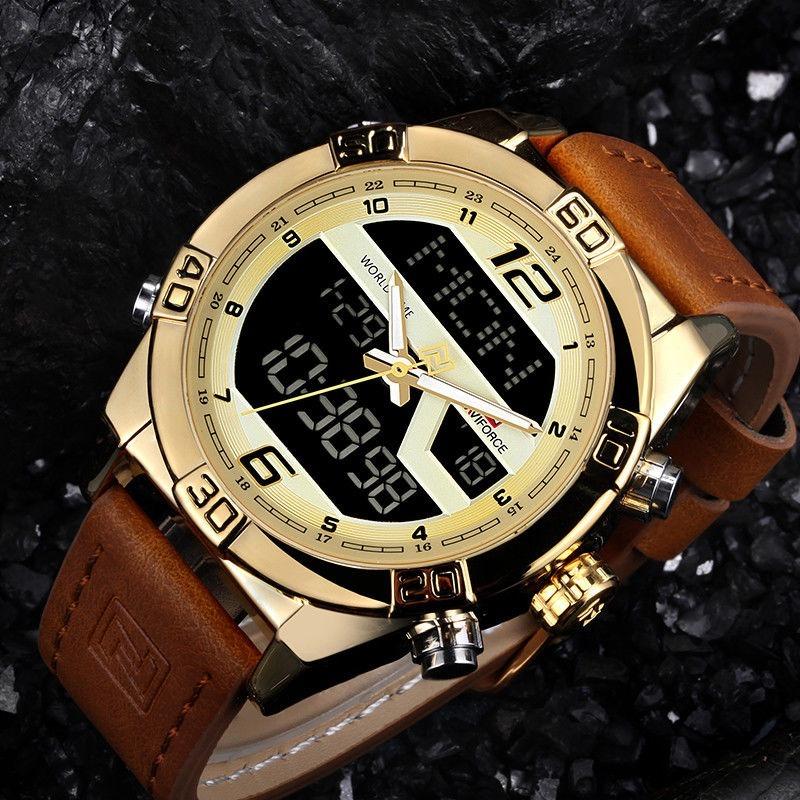 2bacd871af2 relógio naviforce masculino digital analógico pulseira couro. Carregando  zoom.