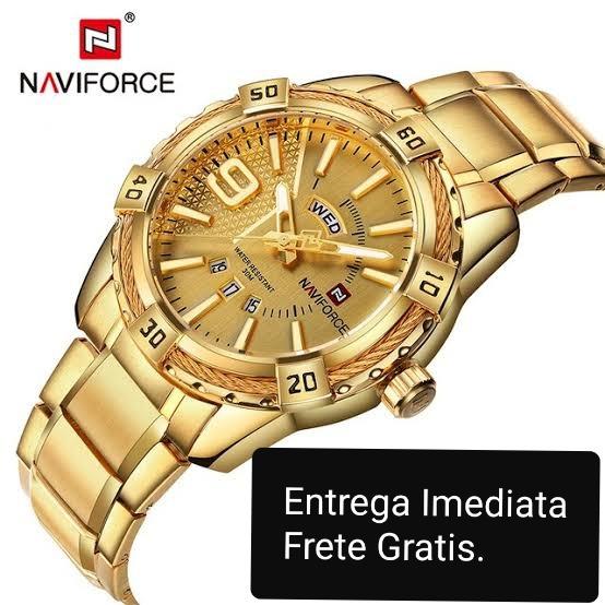 8233fe2ebd6 Relogio Naviforce Masculino Dourado De Quartzo. Importado - R  130 ...