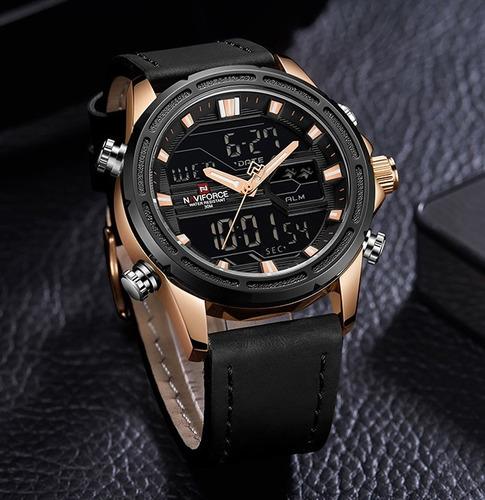 relógio naviforce masculino dourado esportivo couro nf9138