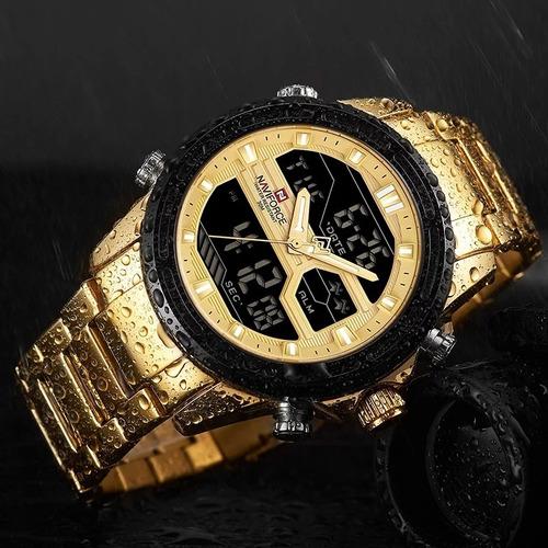 relógio naviforce masculino dourado lançamento militar digital esportivo original