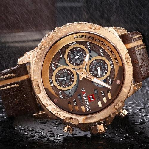 relógio naviforce masculino esportivo pulseira couro