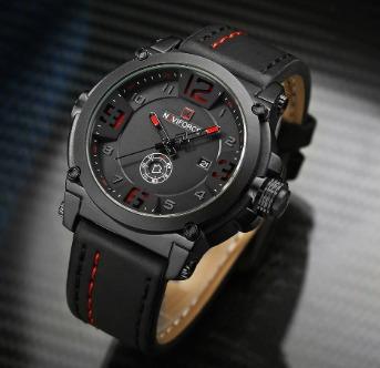relógio naviforce masculino militar esportivo à prova d'àgua pulseira de couro
