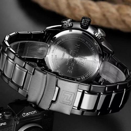 relógio naviforce militar analógico e digital aço inoxidável