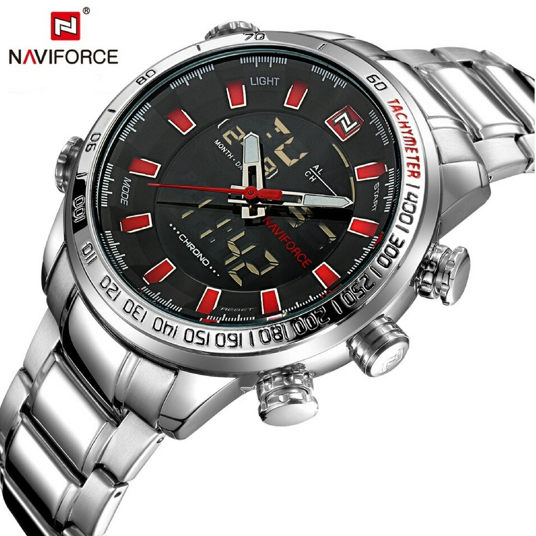 d4047043094 Relógio Naviforce Militar Digital Analógico Nf 9093 Aço Inox - R ...
