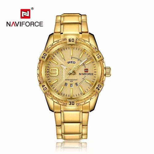 relógio naviforce nf9117 dourado masculino prova d'água
