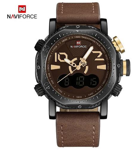 relogio naviforce original marrom claro 9094 original barato