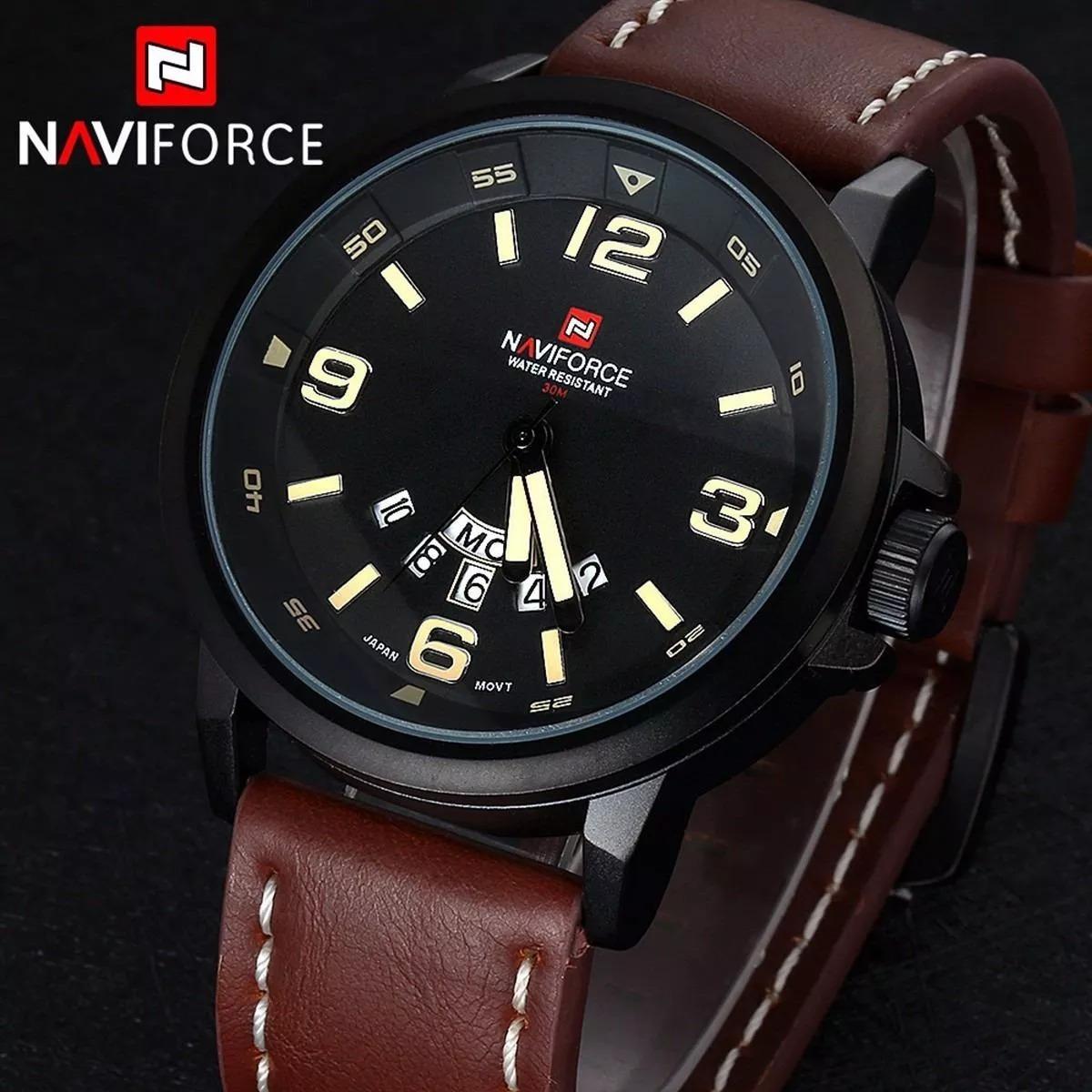 ad8c994e481 relógio naviforce original modelo 9028-1 marrom militar. Carregando zoom.