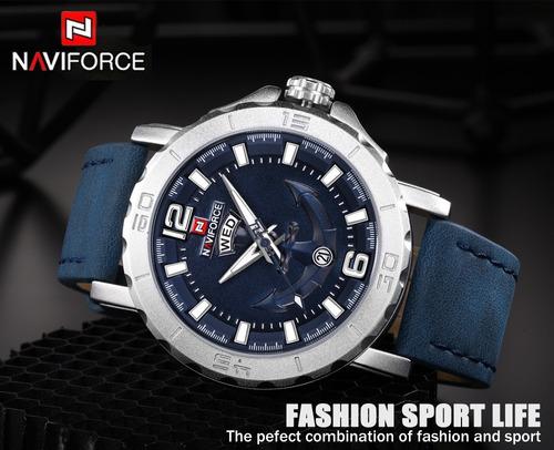 relógio naviforce original nf9122 analóg pulseira couro azul