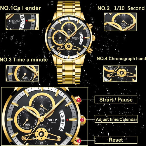 relógio nibosi 1985 prova d'agua original frente grátis