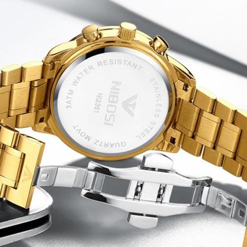 relógio nibosi 2357 masculino original dourado de luxo