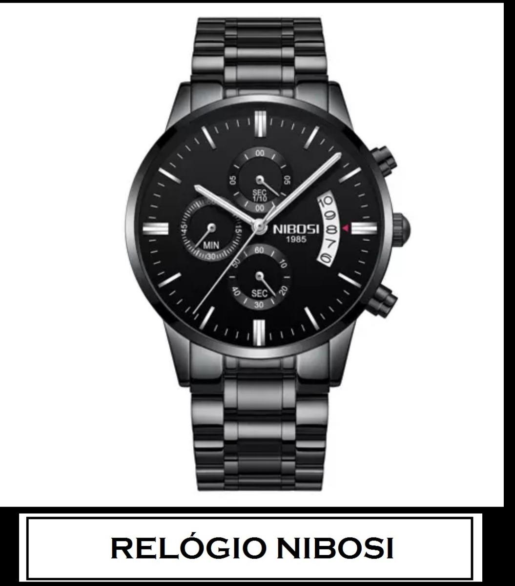 5da2981e6a9 Relogio Nibosi Barato Especial Preto Ponteiro Prata - R  152
