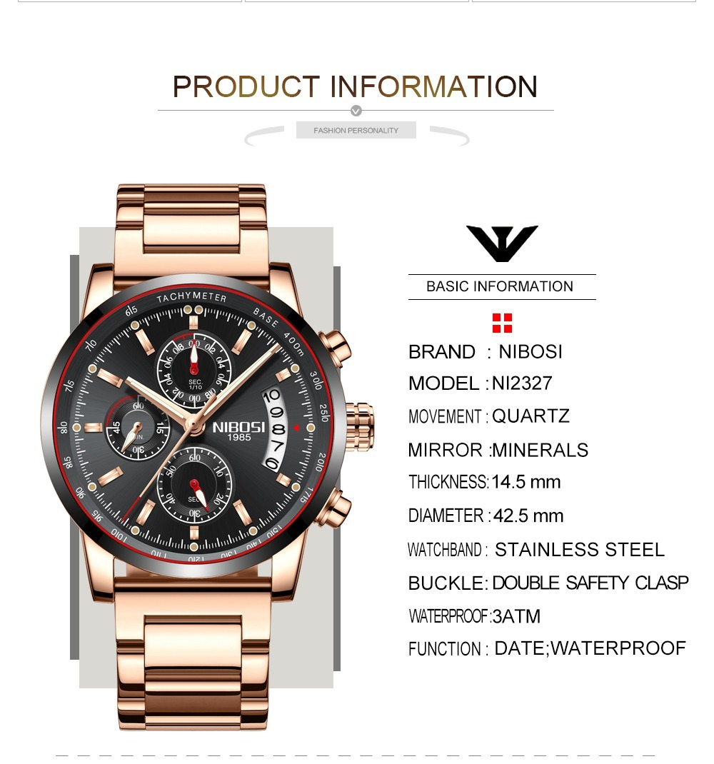 b91f38b6cc0 relógio nibosi® cronômetro e cronógrafo à prova d água 3atm. Carregando  zoom.
