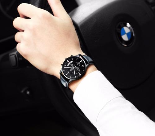 relógio nibosi cronógrafo luxo pulseira couro à prova d'água